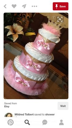 Princess diaper cake/Pink and gold diaper by InspiredbyElena . Princess diaper cake/Pink and gold diaper by InspiredbyElenaPink and Gold Diaper Cake Baby Shower Baby Shower Crafts, Baby Shower Themes, Shower Ideas, Shower Gifts, Shower Party, Princesse Party, Princess Diaper Cakes, Pink Und Gold, Pamper Cake