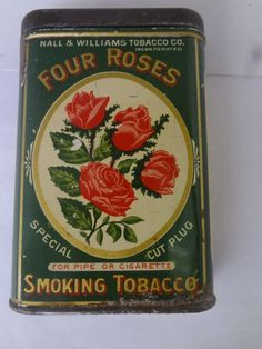 VINTAGE ADVERTISING FOUR ROSES TOBACCO VERTICAL POCKET TIN 502-F