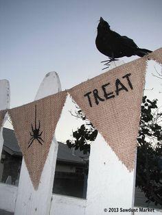 Halloween Decor Halloween Banner or Bunting Made of Burlap by SawdustMarket