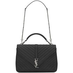 Saint Laurent Monogram Matelasse Leather Shoulder Bag (42.798.725 IDR) ❤ liked on Polyvore featuring bags, handbags, shoulder bags, apparel & accessories, chain shoulder bag, genuine leather shoulder bag, leather shoulder bag und top handle handbags