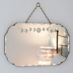 This pretty Vintage Detailed Chained Frameless Mirror from The Other Duckling with its flowing etched grass design is a bit of a beauty. Mirrors With Chains, Old Mirrors, Vintage Mirrors, Mirror Lamp, Art Deco Mirror, Frameless Mirror, Beveled Mirror, Antique Wall Decor, Antique Booth Displays