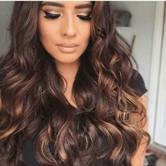 Chocolate brown hair with honey highlights                                                                                                                                                                                 More