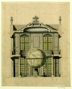 archimaps:  Robert de Cotte's rendering for a pavilion containing one of the Coronelli Globes