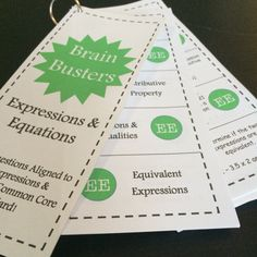 Math Brain Busters - Expressions & Equations! Includes 105 problems aligned to the Expressions & Equations standard for 6th grade math. Comes with 21 cards that are easy to print, cut, hole punch, and clip together for students to use! Each card includes 5 problems. Topics include solving and writing expressions, solving and writing equations, the Distributive Property, and inequalities.