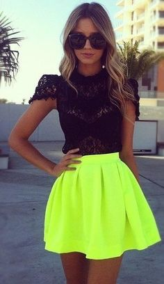 Love this neon skirt, Women fashion #westly LOVE THIS SKIRT not so much the shirt