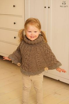 This is knitting pattern for cable poncho Verona. Knitted top down in the round with chunky weight yarn, this is a perfect project for you if you love knitting cables. The pattern comes in kids sizes from 1 to 8-year-old. Cute poncho for a little boy or girl that works up quickly and is