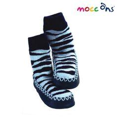 Calcetines antideslizantes con suela de piel mocc ons zebra azul (6 - 24 meses)