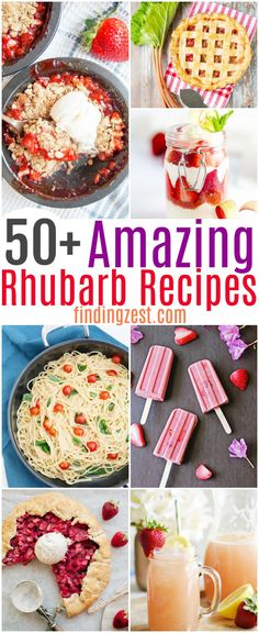 Rhubarb Recipes Get over 50 rhubarb recipes worth making during rhubarb season! These are the the best rhubarb recipes. From classic rhubarb desserts to healthy rhubarb recipes, this list has everything you need to use up that rhubarb! Healthy Rhubarb Recipes, Rhubarb Desserts, Fruit Recipes, Vegetarian Recipes, Cooking Recipes, Rhubarb Recipes Dinner, Desserts For A Crowd, Desserts To Make, Delicious Desserts