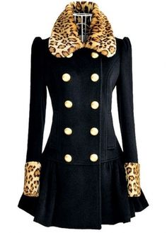 Warm Leopard Paned Navy Blue Winter Long Coat - Online Shop!