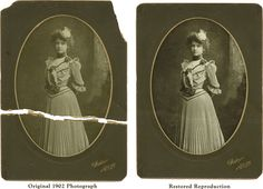 1902 Cabinet Card. Broke into two pieces, this image was digitally repaired. You can learn how with our KwikGuide Restoration book, or we will do it.