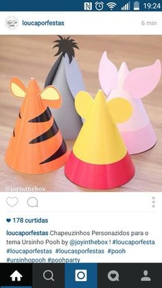 Pooh and friends birthday hats