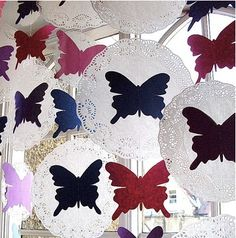 spring time butterflys on doilies window display