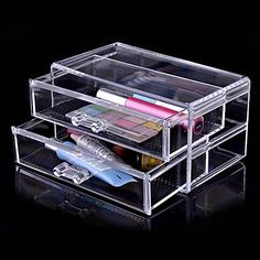 Acrylic Transparent Double Layer Cosmetics Storage Drawer Cosmetic Organizer –