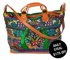 embroidered weekender bag