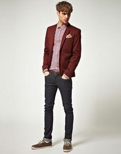 """Oxblood Burgundy Men's Blazer paired with Skinny Jeans #menswear #style"""