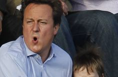 David Cameron attends a football match