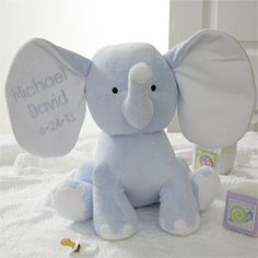 "Embroidered Jumbo Plush Elephant - Blue- ""John Thomas"""