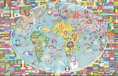 Animal Kids Nursery World Maps Flags TREBLE CANVAS WALL ART Picture Print
