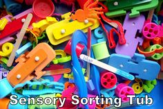 sensory sorting tub - blogger says it entertained three 2 year olds for 35 minutes - we will see about this :)