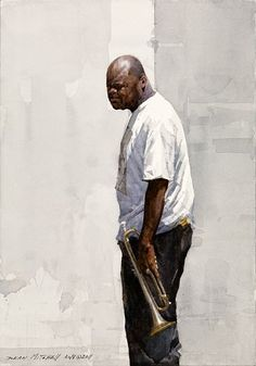 Crescent City Trumpeter - Dean Mitchell - watercolor