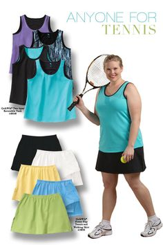 Next time you hit the courts, show up in style with plus size tennis clothing from Junonia. Junonia's plus size tennis outfits are flattering to women who have plus size body types.