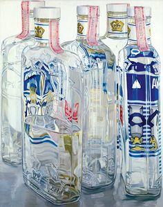 Janet Fish, <em>Majorska Vodka</em>, 1976. Oil on canvas, 60 x 48 in.