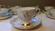 Isnt this pretty? It is a tea cup and saucer set made by the Tuscan Fine Bone English China company, in England. It has such a lovely floral decor.