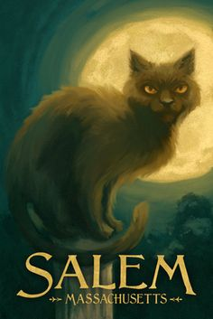 Salem, Massachusetts - Black Cat - Halloween Oil Painting - Lantern Press Artwork