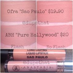 """These ones appear a little different on camera, but look like exact dupes in person! This is another one of @ofracosmetics's new summer shades, """"Sao Paulo."""" It's around the same price as """"Pure Hollywood,"""" but the code """"DUPETHAT"""" gets you 30% off your orders on Ofra's site! Have you tried Ofra's liquid to matte formula? Thoughts?!"""