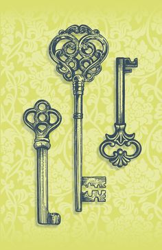 Three Skeleton Keys art print, by Rachel Caldwell on Society 6. The middle one would make for a wicked tattoo.
