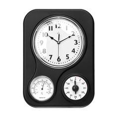 Wall Clock, Timer/Temperature Display, Black Plastic