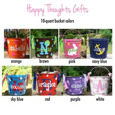 A monogrammed bucket is great way to store items in a cute way! Great for an Easter bunny bucket or for dorm rooms, baby rooms, pets, craft supplies, laundry or kitchen. Choose your bucket color and personalization design and colors to make a completely custom bucket! ~ TO ORDER ~ This listing is for ONE personalized 10-quart bucket. First, select the BUCKET COLOR from the drop-down list. Next, review the photos for options and provide the following information (in numbered order please) in…