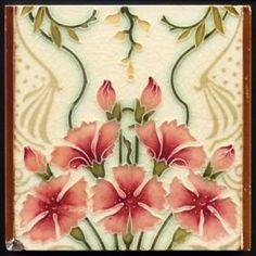 TH3122-MINTONS-Leon-Solon-ART-NOUVEAU-CRAFTS-Panneau-Tuile-Rd-1898 Motifs Art Nouveau, Azulejos Art Nouveau, Design Art Nouveau, Art Nouveau Tiles, Victorian Tiles, Antique Tiles, Vintage Tile, Antique Art, Antique Jewelry