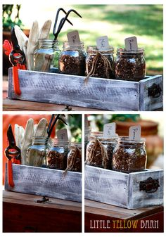 DIY planter box with mason jars for herbs