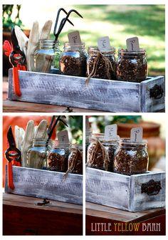 DIY planter box with mason jars for herbs