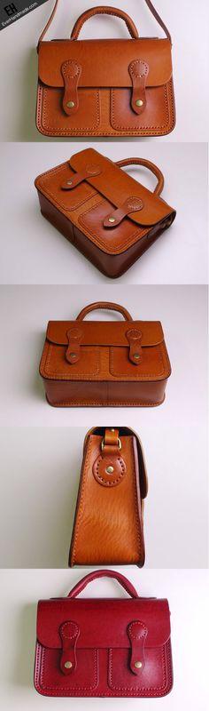 Handmade Leather satchel bag shoulder bag brown black for women