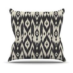 Kess InHouse Amanda Lane Black Cream Tribal Ikat Indoor/Outdoor Throw Pillow - AL1014AOP02