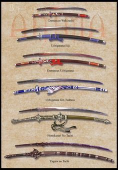 Anima: Katana set 1 by Wen-M on DeviantArt - Messer Katana Swords, Samurai Swords, Oni Samurai, Swords And Daggers, Knives And Swords, Sabre Laser, Cool Swords, Sword Design, Anime Weapons