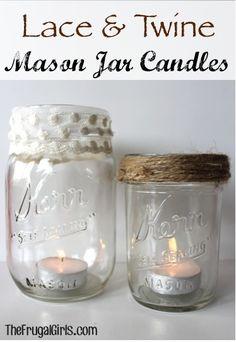 Lace and Twine Mason Jar Candles! ~ from TheFrugalGirls.com #masonjars