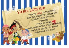 Jake and the Neverland Pirates Birthday Invitation and by Chikoli, $8.00