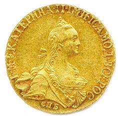Pièce de 5 roubles en or à l'effigie de la tsarine Catherine II (1762-1796), Saint-Pétersbourg, 1766. Frais compris : 7 800 €. Tours, vendredi 23 janvier. Rouillac SVV. Mme Berthelot-Vinchon.