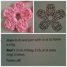 Crochet Small Flower, Crochet Simple, Love Crochet, Diy Crochet, Crochet Flowers, Crochet Baby, Crochet Motifs, Crochet Flower Patterns, Crochet Diagram