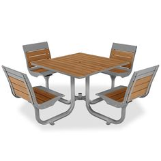 Beacon Hill Bamboo Table With 4 Contour Seats | Picnic Tables | Upbeat.com