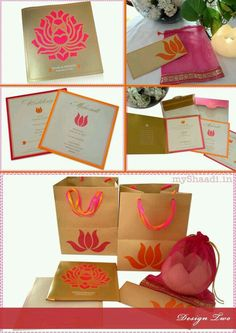 Colourful and vibrant wedding invitation card