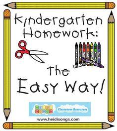 Heidisongs Resource: Kindergarten Homework- The Easy Way!