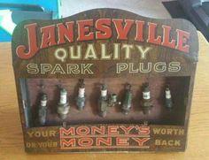 RARE Original Janesville Spark Plugs Advertising Display