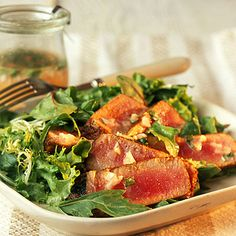Seared Tuna on Mixed Greens with Cilantro-Lime Vinaigrette | Coastalliving.com