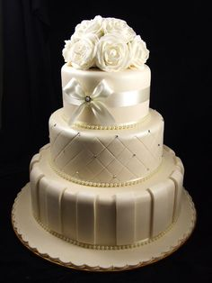 Ivory pearl and diamante with ribbon cake