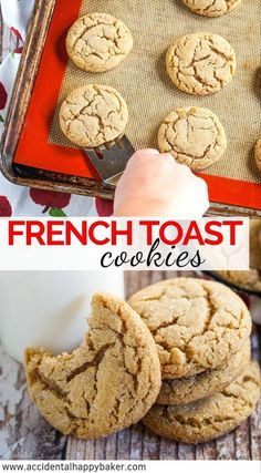 French toast cookies taste just like French toast sticks but in the form of a deliciously chewy sugar cookie Bring on the breakfast for dessert frenchtoastcookies ChewyCookies BakeBetterCookies Frenchtoast HomemadeCookies Chewy Sugar Cookies, Homemade Cookies, Yummy Cookies, Cookies Et Biscuits, Chocolate Chip Cookies, Cinnamon Cookies, Maple Cookies, Candy Cookies, Baking Cookies