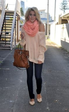 Loving this outfit. Big slouchy sweater, Peach scarf, flats, and voluminous hair! Is it Fall yet??